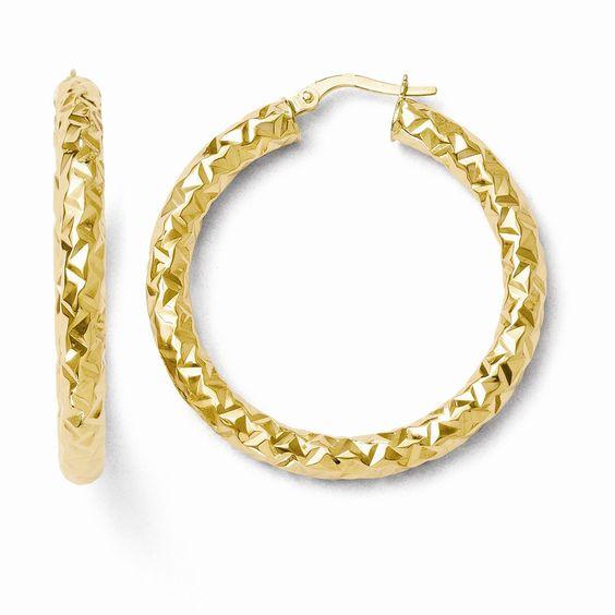 Leslie's 14k ForeverLite Polished and Textured Hoop Earrings