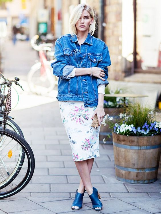 Tip of the Day: A Ladylike Way To Wear Your Jean Jacket via @WhoWhatWear