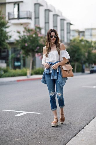 le fashion image blogger sunglasses blouse bag jeans shoes