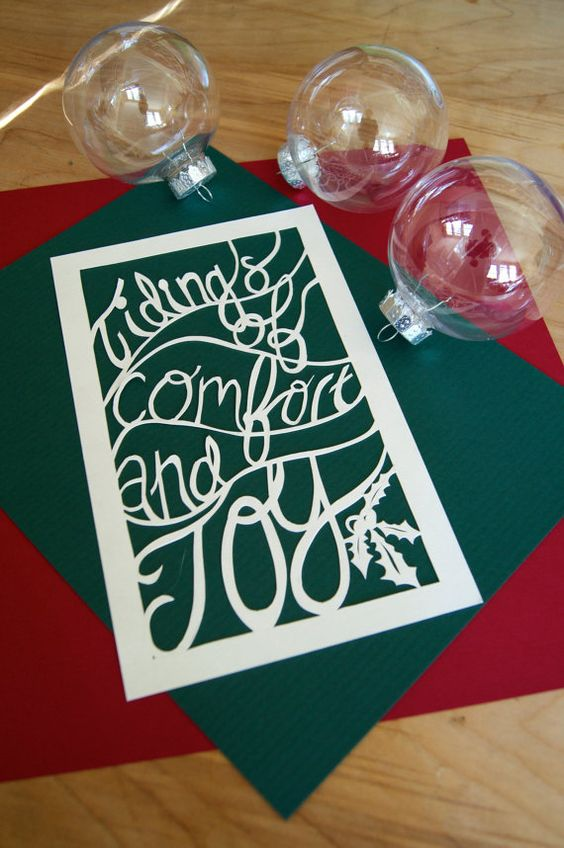 Handmade Papercut Tidings of Comfort and by FlyingPaperAirplane, $38.00