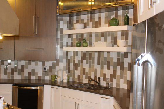 Choose a vertical installation to show how the look can be changed using a simple subway tile.