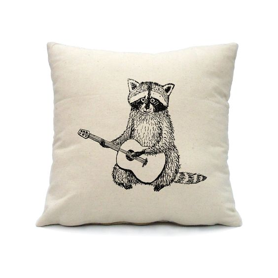 Raccoon Pillow Cover Hand Screen Print on Nature Color Cotton Pillow Cover by smiletee on Etsy