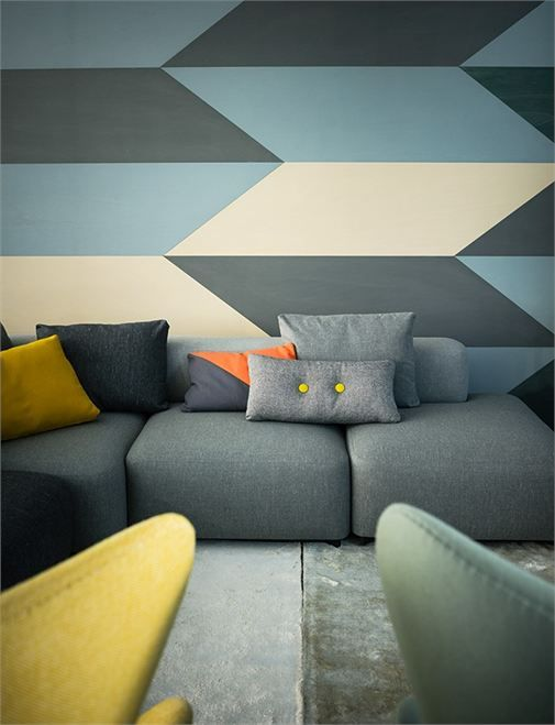 graphic wall: Interior Design, Wall Patterns, Fritz Hansen, Living Room, Geometric Wall, Fritzhansen, Accent Wall