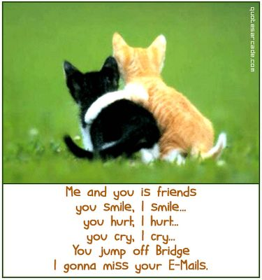 Me and you is friends . . .