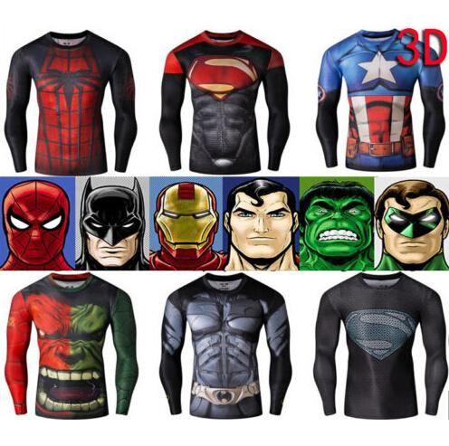 2015 Mens 3d Superhero Long Sleeve Cycling T Shirts Pro Tops Slim