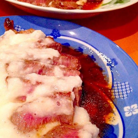 お肉が食べた〜い!とろろをかけて、ちょいヘルシー❓ - 47件のもぐもぐ - ビーフステーキとろろがけ by mjuk
