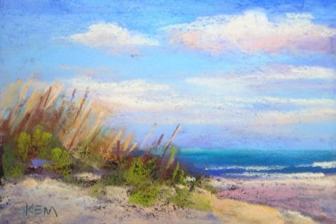 Sunny Beach Dunes 4x6 pastel, painting by artist Karen Margulis