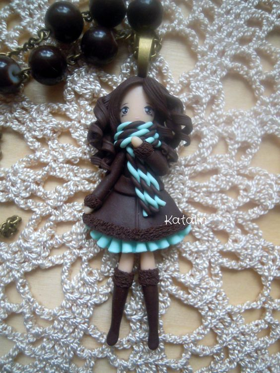 lady summer kawaii chibi doll polymer clay fimo necklace