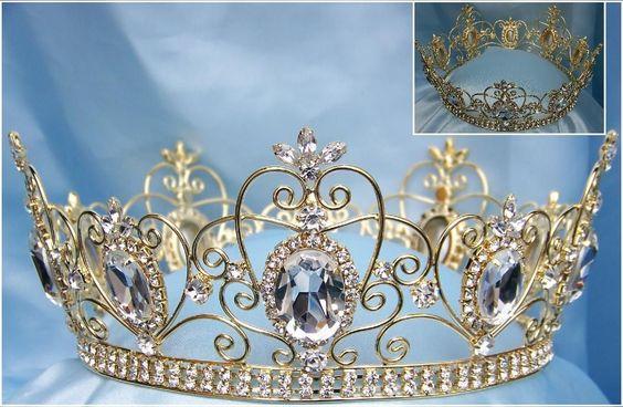 Rhinestone Imperial Celtic Jewelled Unisex Gold Crystal Crown