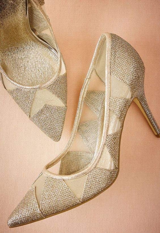 Vanna Pumps in gold by Adrianna Papell // Make a statement in this ultra-chic, pointy toe pump with flirty mesh insets.