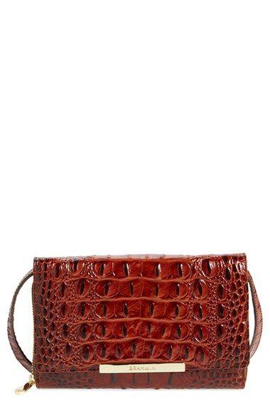 Brahmin 'Michelle' Croc Embossed Leather Crossbody Wallet