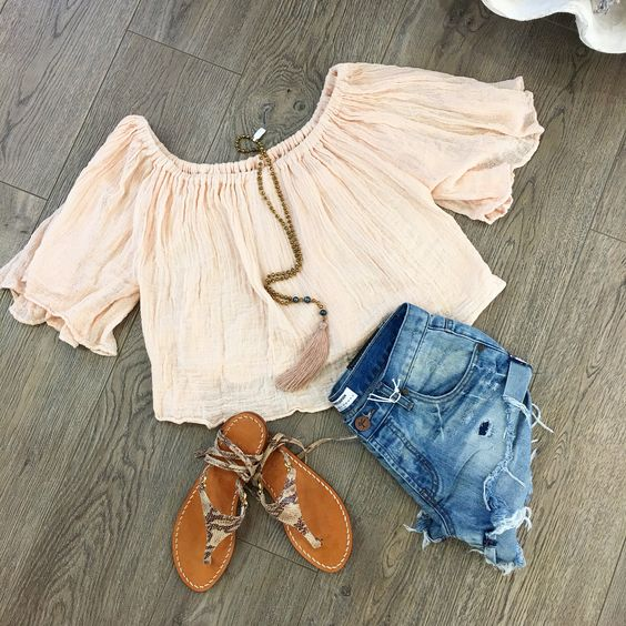 Summer Essentials  #OffTheShoulder #RippedShorts #LeatherSandals #Tassel #Necklace (Only $42) Available in Stores or Online www.azzurracapri.com #AzzurraCapriBoutique #JensPirateBooty #OneTeaspoon #BohoVibes #Cali #FBlogger #DailyInspo