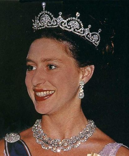 Princess Margaret wearing the Papyrus/Lotus Flower Tiara (also wearing the Teck Circle Tiara as a necklace).