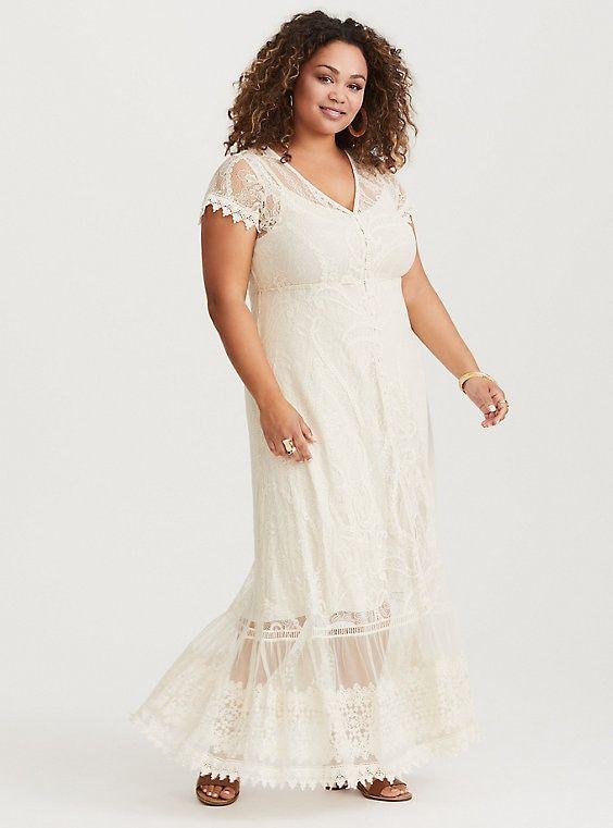 Ivory Lace Maxi Dress | Beautiful white dresses, Lace maxi ...
