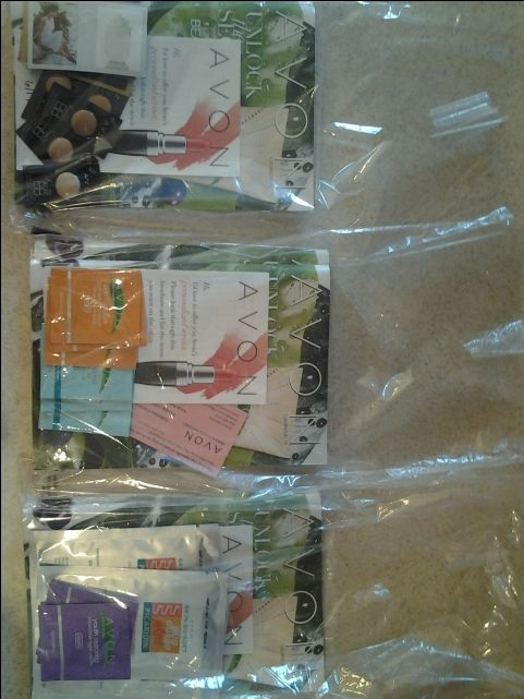Avon Goodie Bags hand delivered to local businesses. Complete with books, samples, flyers, order slips!