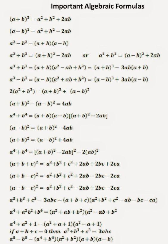 Important Algebraic Formula Math Method Studying Learning Mathematics Essay