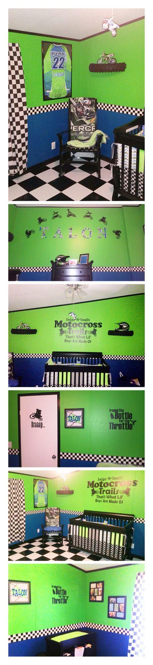 Dirt-bike baby, dirt bike room, moto baby, moto room, boy nursery, green and…