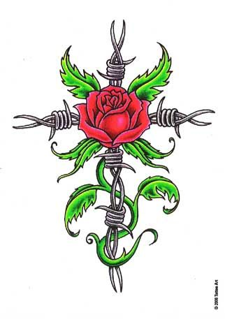 barbed wire cross tattoo designs | barb wire cross cross design, art, flash, pictures, images, gallery ...