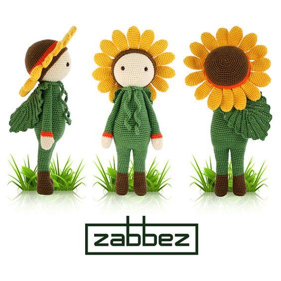 Häkelanleitung Amigurumi Puppe Sonnenblume Sam PDF von Zabbez
