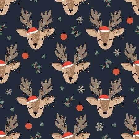 Christmas Seamless Pattern With Reindeer Background Winter Pattern Cute Christmas Backgrounds Christmas Prints Cute Christmas Wallpaper