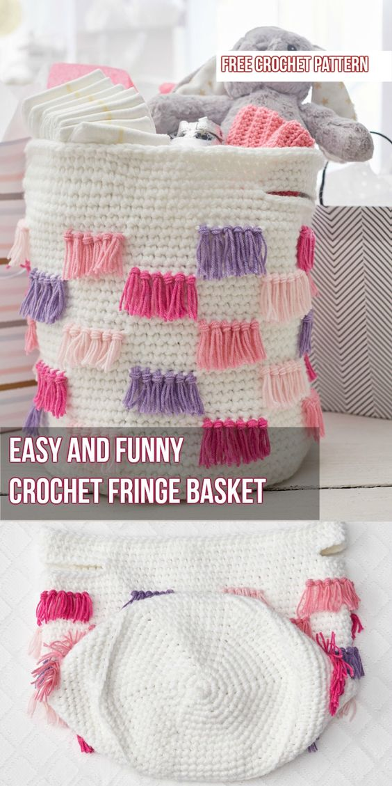 Crochet Fringe Basket [Free Crochet Pattern]