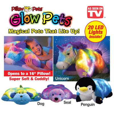 Bright Light Animal Pillow Pets : Glow pets are the magical, light-up pets that open to become super-soft, cuddly pillows. Simply ...