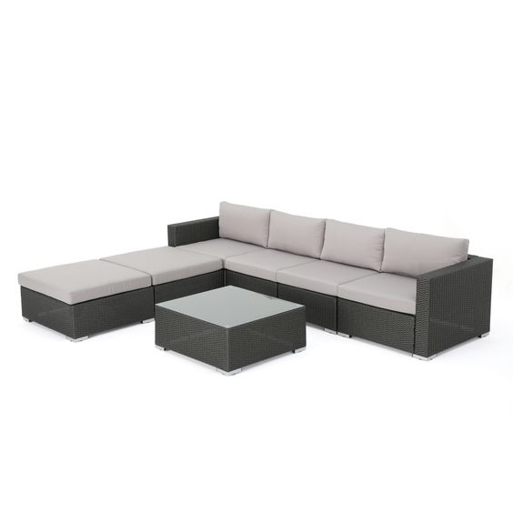 Seneca Outdoor 7 Pc Wicker Sectional W/ Water Resistant Cushions