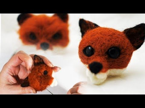 A Small Cute 3d Needle Felted Fox Head Pin Youtube Basteln Puppen