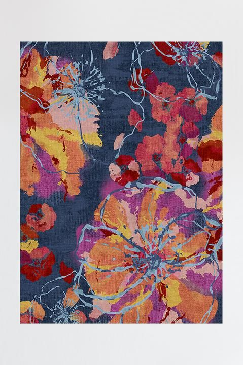 Watercolor Floral Navy Rug In 2019 Navy Rug Washable Area Rugs