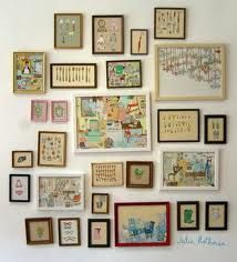 charming: Wall Of Frames, Julia Rothman, Gallery Walls, Art Display, Picture Walls, Picture Frames, Art Wall