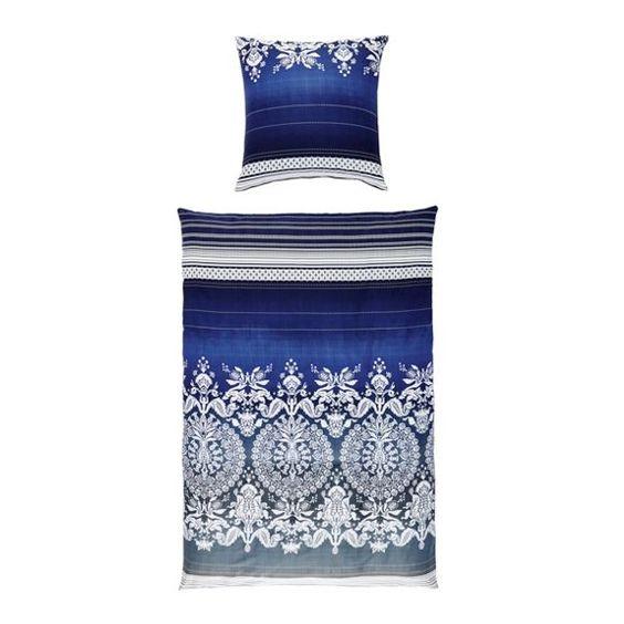 Ein orientalisches Schlafgefühl schenkt diese Bettwäsche mit schönen Ornamenten in Weiß. Passend für dein neues Schlafzimmer in der Trendfarbe Blau!