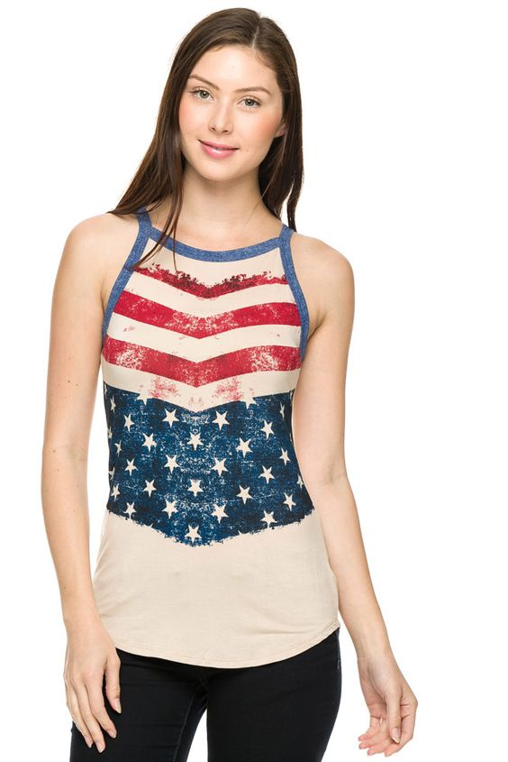 Flag print high-neck tank top.