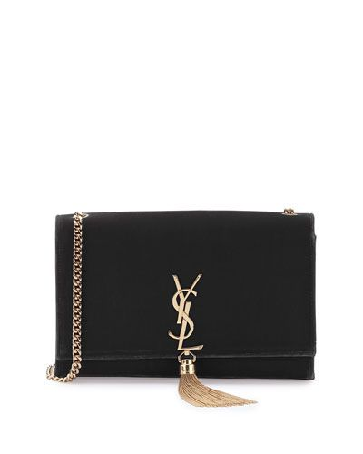 V2ZXG Saint Laurent Kate Monogram Medium Velvet Tassel Satchel Bag, Black