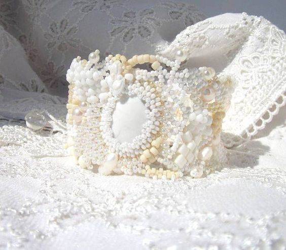Beaded jewelry White Cream Beige Freeform peyote Cuff by ibics, $85.00