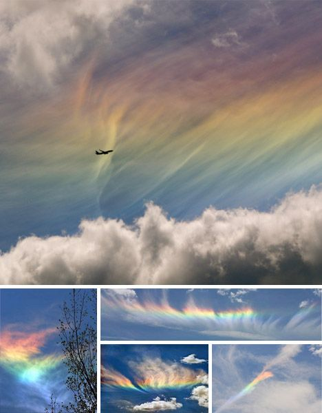 "A circumhorizontal arc is an ice-halo formed by the refraction of sun- or moonlight in plate-shaped ice crystals suspended in the atmosphere, typically in cirrus or cirrostratus clouds. As with all halos, it can be caused by the Sun as well as the Moon. The misleading term ""fire rainbow"" is sometimes used to describe this phenomenon, although it is neither a rainbow, nor related in any way to fire. More"