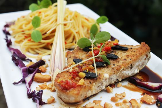 Pan Seared Marlin Fillet with Black Garlic,Chilli & Lemongrass Sauce, Balsamic Vinegar Reduction and Aglio Olio Pasta. Full recipe at http://dentistvschef.wordpress.com/2013/02/11/pan-seared-marlin-fillet-with-black-garlicchilli-lemongrass-sauce-reduced-balsamic-vinegar-and-aglio-olio-pasta-fine-dining-features-recipe/