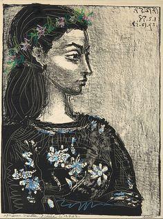 """Pablo Picasso, """"Mujer con blusa de flores"""", 1957, Françoise Gilot"""