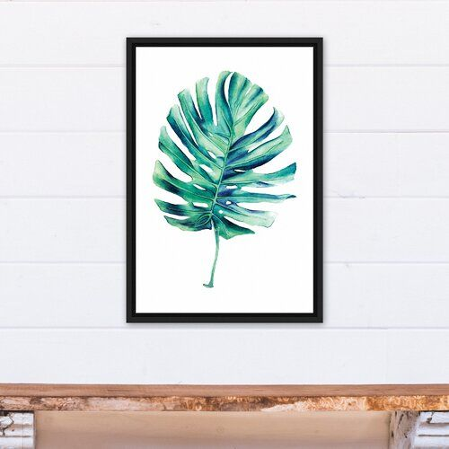 Single Palm Leaf Framed Watercolor Painting Print On Canvas