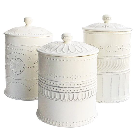 White Kitchen Canisters.