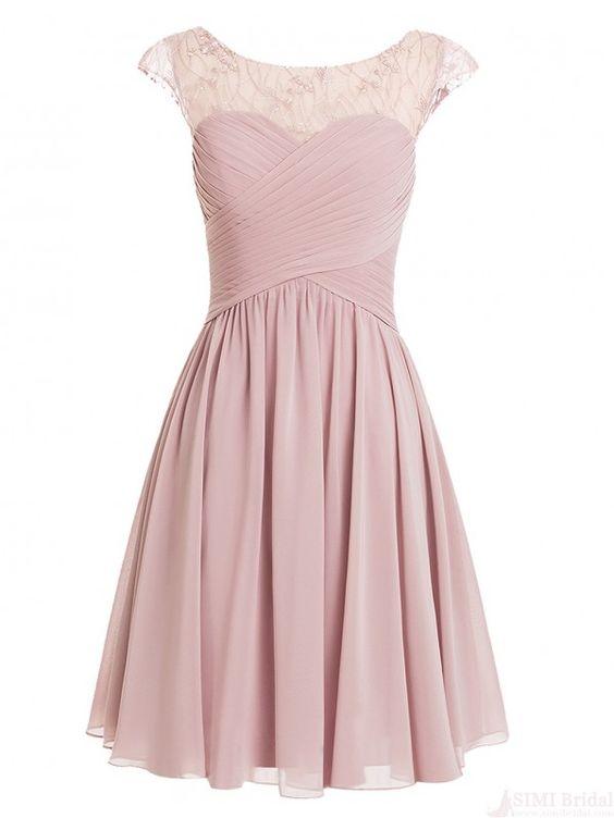 Chiffon Cap Sleeves Pink Short Prom Dresses Homecoming Dresses #SIMIBridal  #homecomingdresses