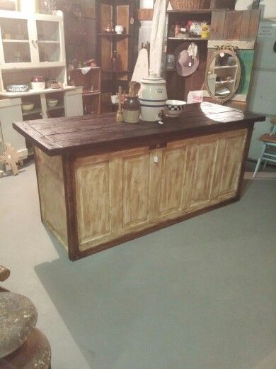 kitchen island made from old doors kitchen island made out of an door and rafters 9410