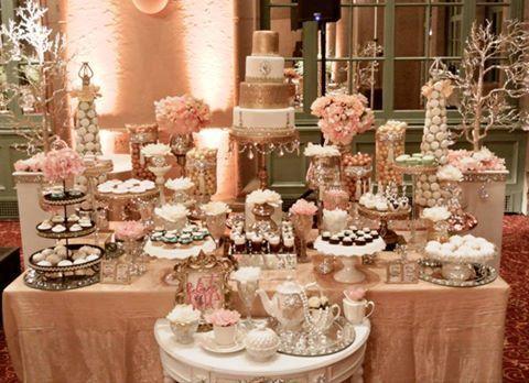 Ideas Para Una Mesa De Dulces Mesa De Dulces Para Fiestas Infantiles Que Lleva Una Mesa Dessert Bar Wedding Wedding Candy Table Wedding Reception Candy Table