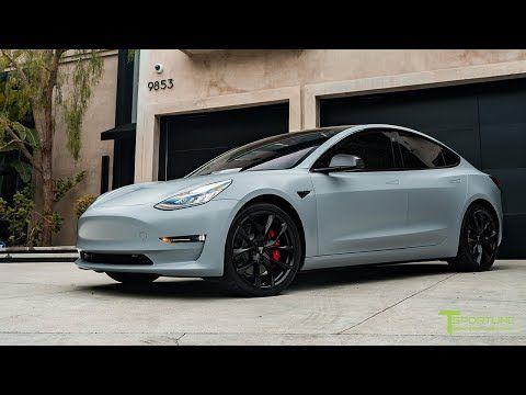 Performance Model 3 Goes Satin Battleship Gray With New Gloss Carbon Fiber Executive Trunk Wing Youtube Tesla Model X Dream Cars Jeep Tesla Model