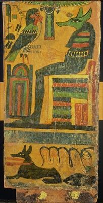 Anubis and the Soul of the Deceased, from a sarcophagus (panel)