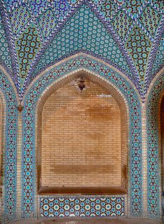 Alcove and ceramic tiles mozaic decorating the interior of the tchaikhaneh (tea house) at the tomb of famous persian poet Saadi. Taken at Saadiyeh, Shiraz, Fars province, Iran, April 2008. http://www.flickr.com/photos/25182210@N07/3100218820