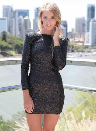 Black Sequin Long Sleeve Bodycon Dress - Mini dresses- Sleeve ...