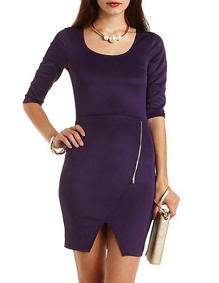 Envelope Zipper Bodycon Dress: Charlotte Russe #charlotterusse #charlottelook #envelope #bodycon #dress