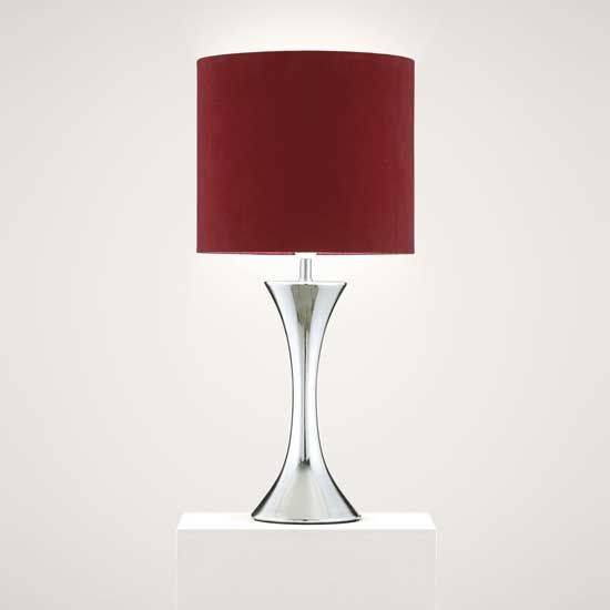 The design of red lamp shade with base is so perfectly balanced.