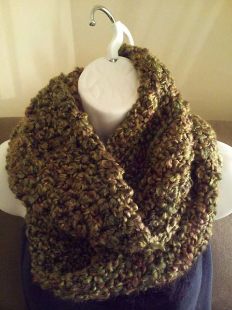 Infinity Scarf Made With Lion Brand Homespun Yarn With Brown Green