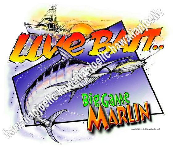 "LIVE BAIT MARLIN : ""DTG"" PRINTING ON 100% COTTON WHITE T-SHIRTS : ALL SIZES #Gildan #BasicTee"
